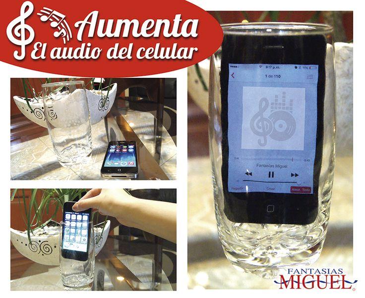 ¡Aumentar el audio de tu celular es muy fácil! Coloca el Teléfono en un vaso para hacer la música bastante fuerte como para llenar una habitación.