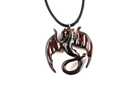 Dragon Necklace Dragon Pendant Dragon Jewelry Wood by GatewayAlpha