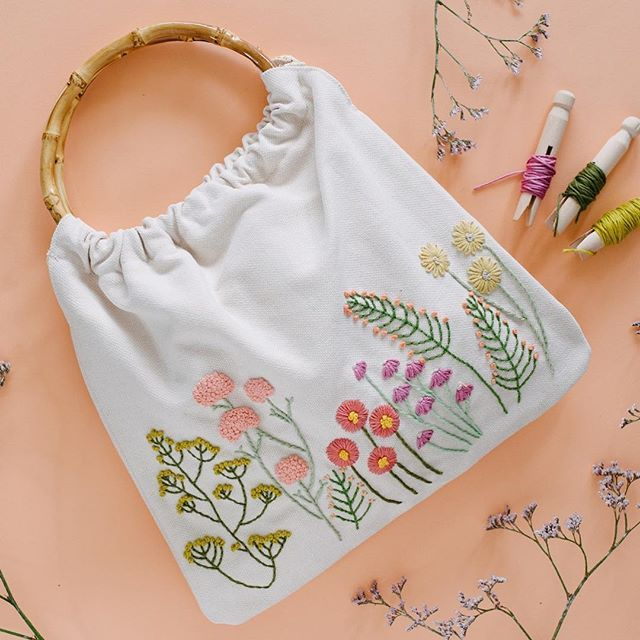 Embroidered Purse w/ Bamboo Handle