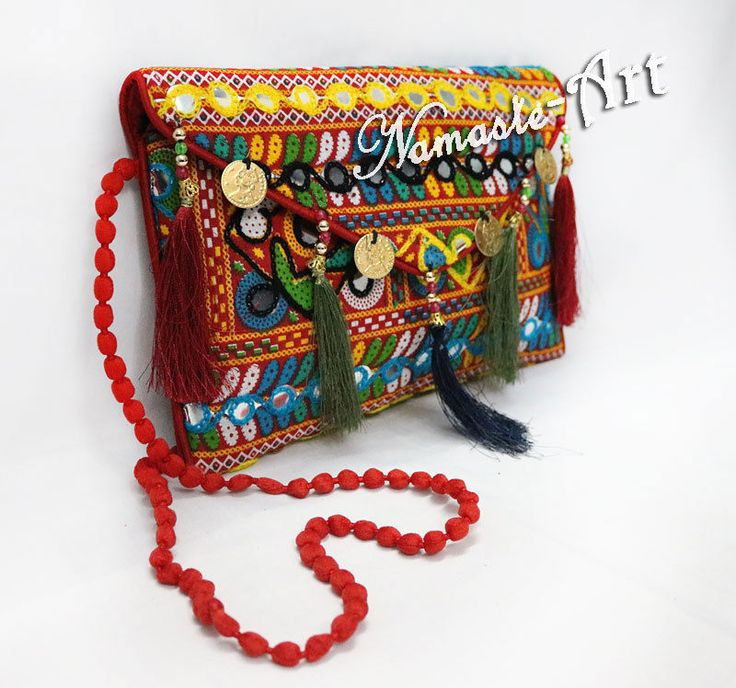 Indian Cotton Handmade Beautiful Floral Design Embroidery Work Clutch Carry Bag #Namasteart #Clutch