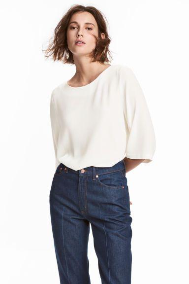 blouse met doorzichtige mouwen