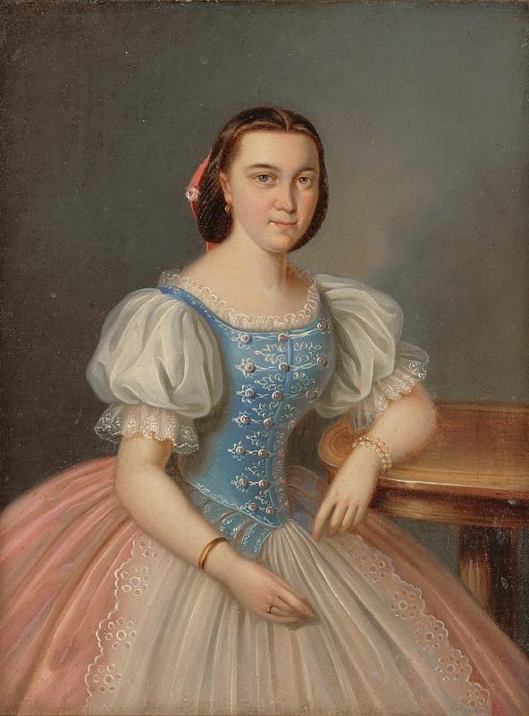 Portrait of a young woman sitting in a blue bodice.   Web umenia | Peter Michal Bohúň - Podobizeň sediacej mladej ženy v modrom živôtiku