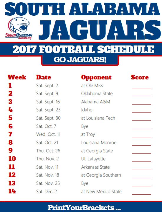 2017 South Alabama Jaguars Football Schedule