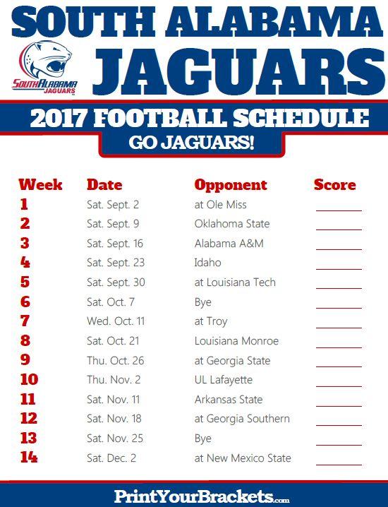 2017 South Alabama Jaguars Football Schedule