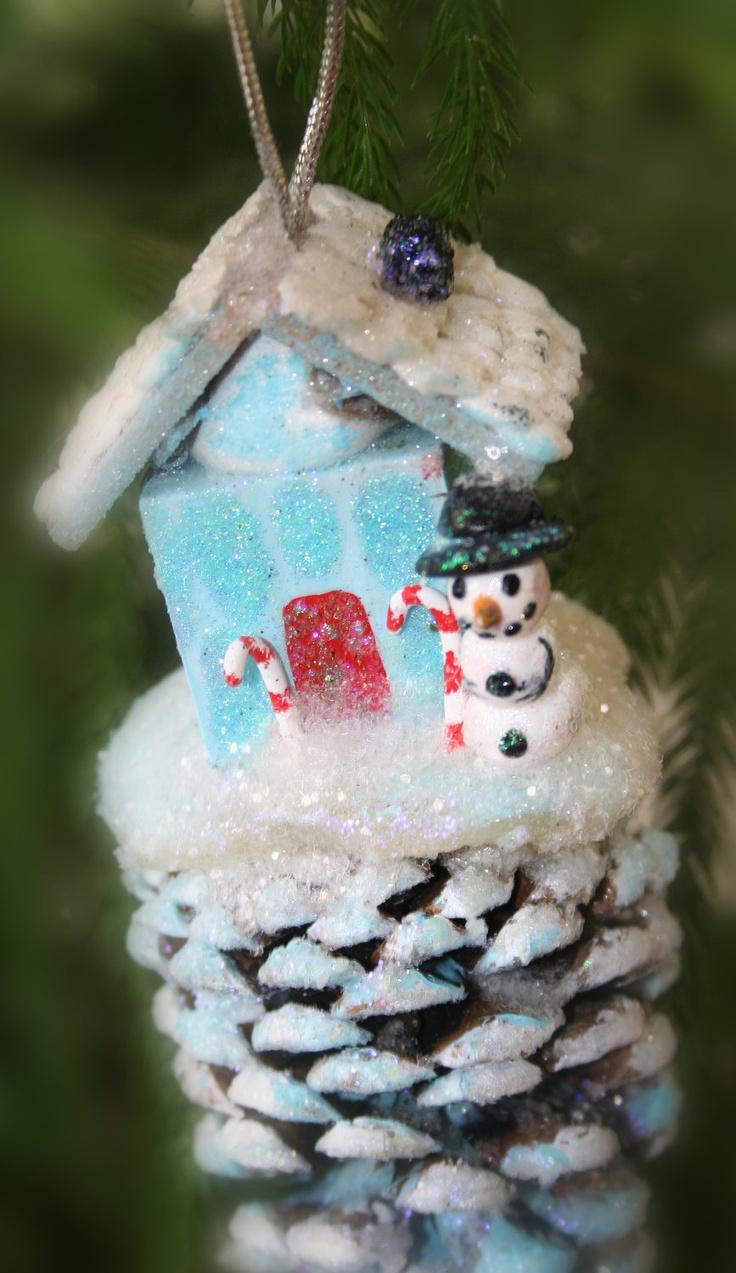 Christmas Decoration Snowman tree ornament pine cone