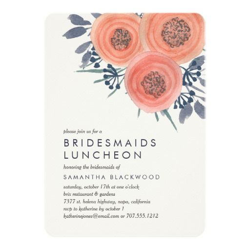 BRIDEMAID BRIDAL LUNCHEON LUNCH Peach Poppies Floral Flowers Chic & Pretty Bridesmaids Bridal Personalized Luncheon Invite Announcement Invitation Card
