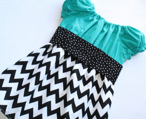"Teal & Black Chevron Dress ""Taylor"" Peasant Dress in Bold Turquoise and Black and White Chevron - MADE TO ORDER - EtsyKids Team on Etsy, $29.95"