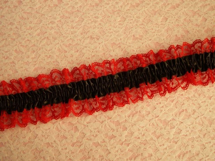 Red Elastic Ruffled Lace with Black Ribbon, Lace Garters, Bridal, Prom #Unbranded