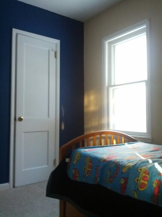 Boys Bedroom One Wall Painted Dark Blue Kids Room