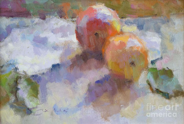 Still Life Painting -  Apples Dunked In Silver by Jerry Fresia