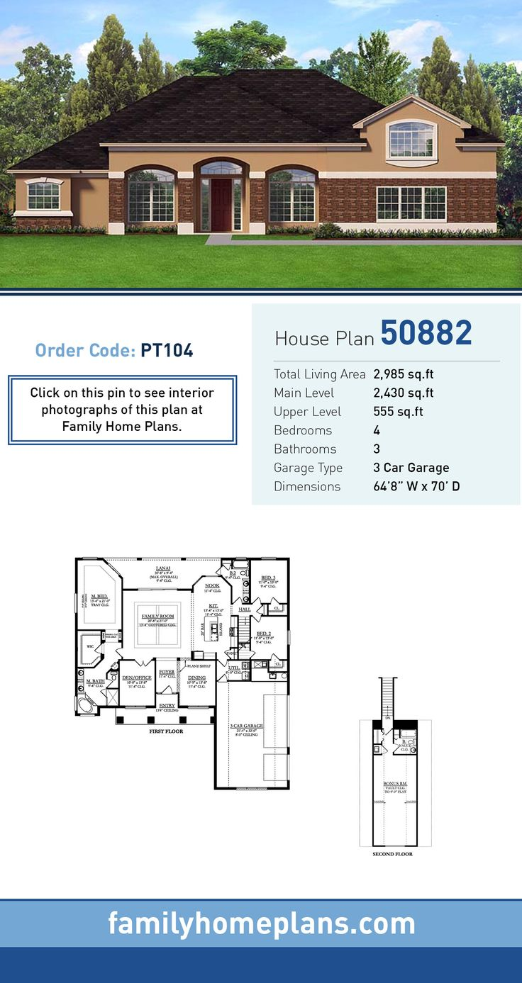 attractive family homeplans.com #9: Southwestern House Plan 50882   Total Living Area: 2,985 SQ FT, 4 bedrooms  and