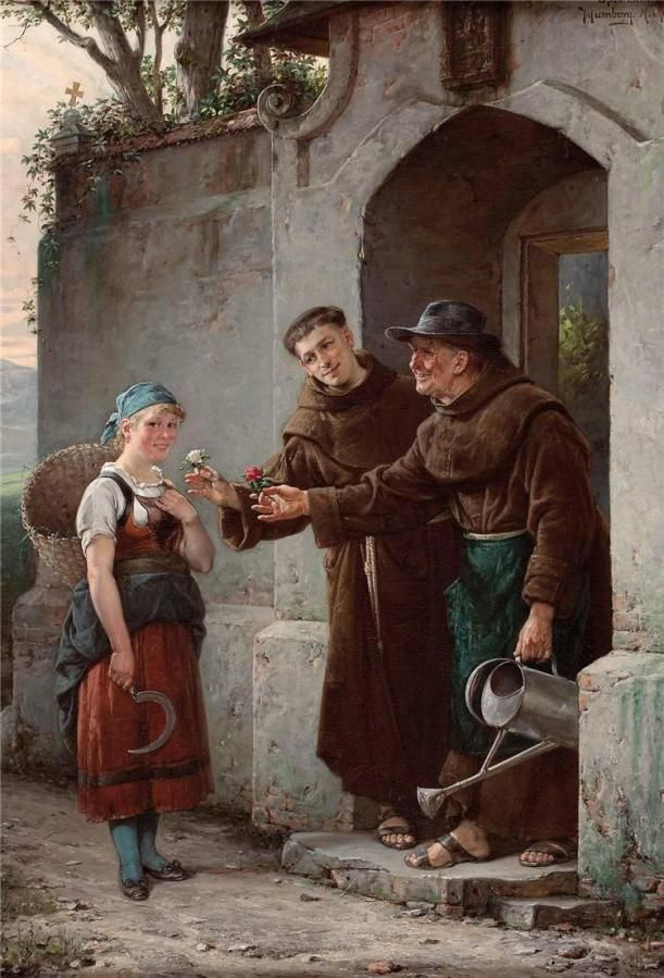 Adolf Humborg (1847-1921) — Monks Offering Flowers (611×899):