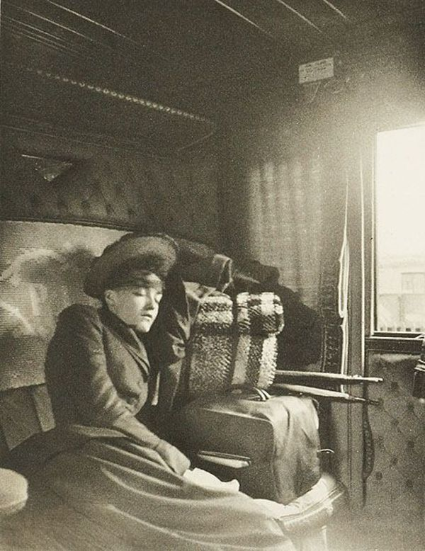 "As more and more people began to travel by train and more companies sprouted up to service them, accommodations began to shift to allow for lower ticket prices.  This 1895 photo shows a standard ""sleeping car"" compartment where people would often sleep sitting up."