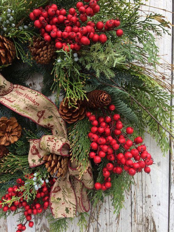 Christmas Wreath Large Christmas Berry Wreath by marigoldsdesigns