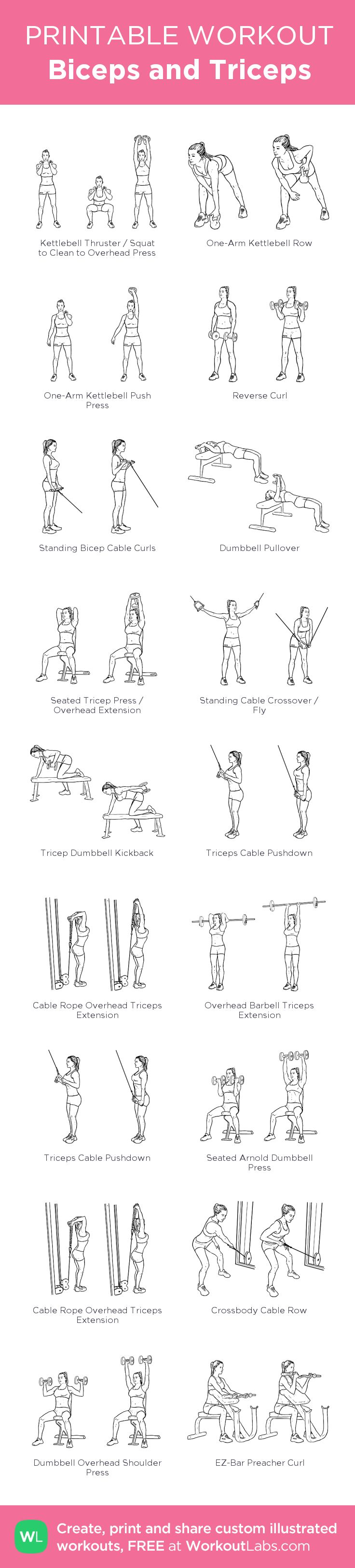 Biceps and Triceps: my visual workout created at WorkoutLabs.com • Click through to customize and download as a FREE PDF! #customworkout