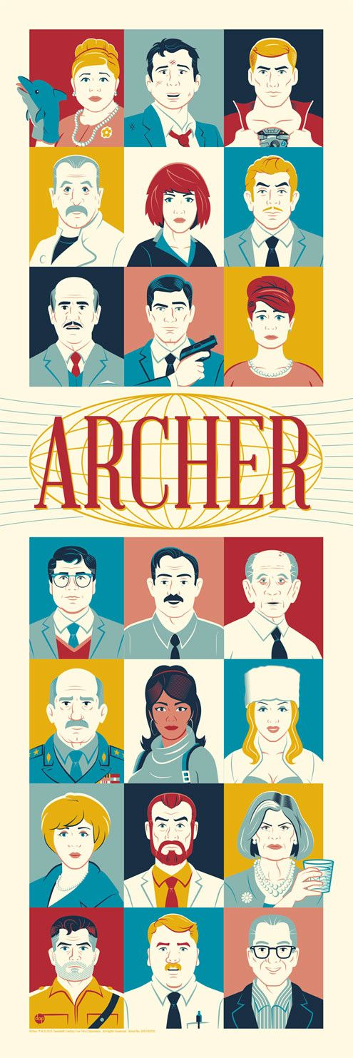 """Dark Ink had Dave Perillo take on the wonderful tv show Archer for his newest poster. This is a 12"""" x 36"""" screenprint, has an edition of 250, and costs $50. Vis"""