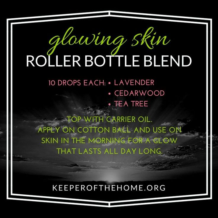 Use this essential oil recipe in a roller bottle blend for glowing skin in the morning.
