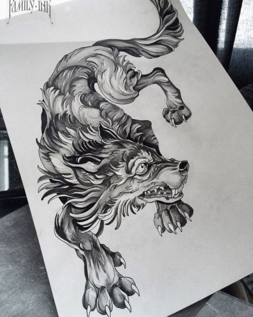 """Wolf Design by """"FAMILY INK""""  Has a great Japanese style to it."""