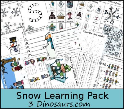 Free Snow Learning Printables Pack (over 100 pages!) | Free Homeschool Deals ©