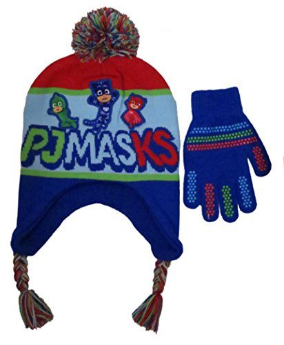 Disney Boys' PJ Masks Winter Scandinavian Hat with Pompom and Glove Set - Size 4-7 [4014]:   PJ masks Night heroes! Hero time! Dress your little one with this lovely stylish hat and Glove set from Disney PJ masks your little one will feel like a hero and will stay warm and comfortable in this cold weather set, colorful stylish designs, size Boys 4-. Featuring PJ masks characters on the hat, and grip designed mittens. Officially licensed by Disney products, great gift easy to clean,