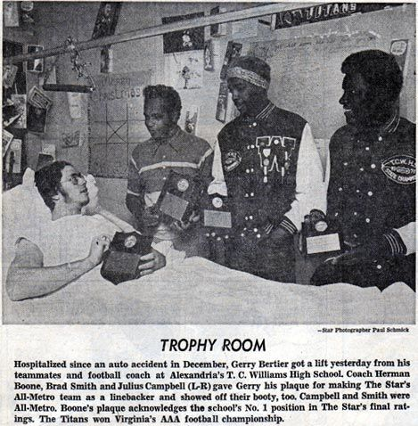 Gerry Bertier (1953-1981) with T.C.Williams High School Football coach Herman Boone and his teammates. [story portrayed in Remember The Titans]