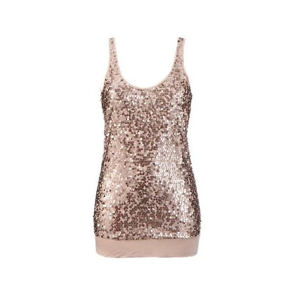 Vila Sequin Vest (£22) ❤ liked on Polyvore featuring tops, shirts, tank tops, dresses, blusas, going out tops, brown jersey and sequin jersey
