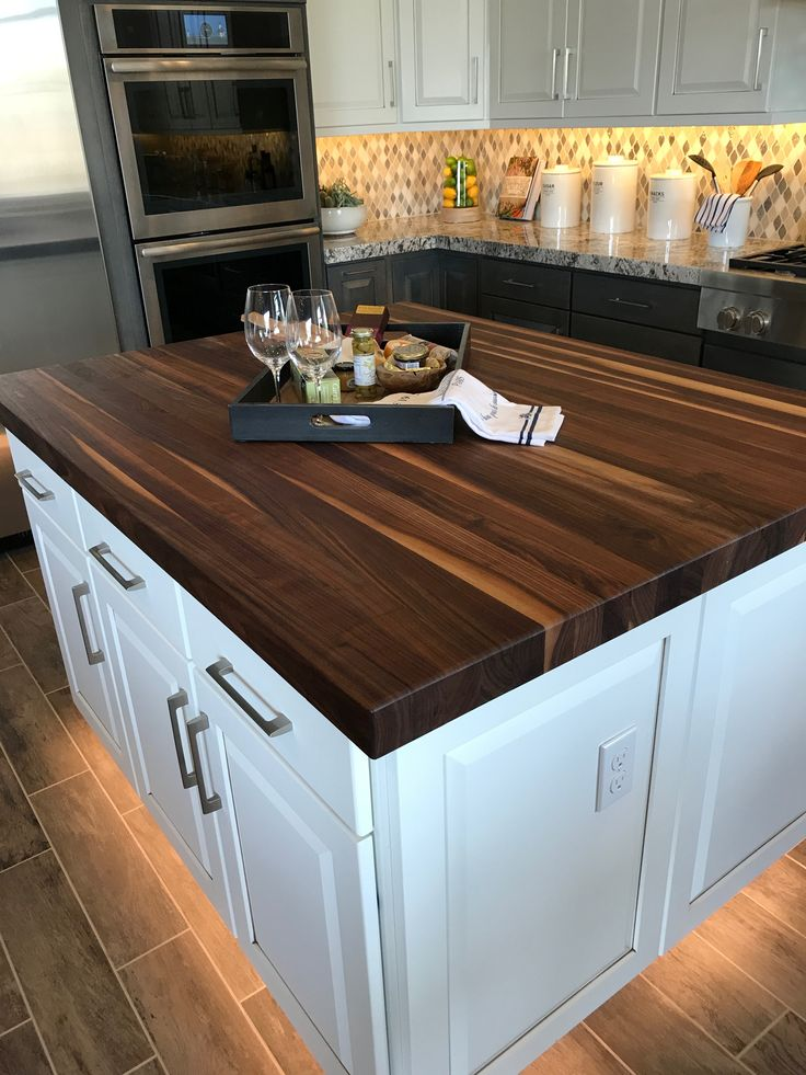 Butcher Block Island With Under Cabinet Lighting
