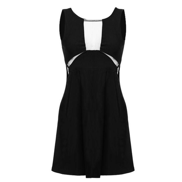 Black Stylish Lady Women's New Fashion Waist Hollow Sleeveless O-neck Sexy Stretch Going Out Dresses