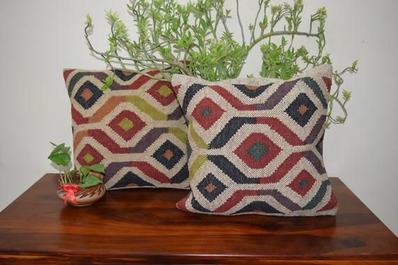 Indian Handmade Handwoven Dhurrie Wool Cushion Cover Living Room Decor Pillow Cover Bohemian Throw Pillow Covers