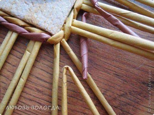 Мастер-класс Поделка изделие Плетение Хлебный комплект Трубочки бумажные фото 8  Как добавить стоечки на углу