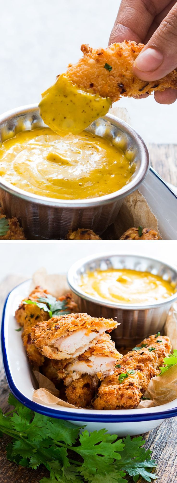Baked Coconut Chicken Tenders with Mango Mustard Sauce