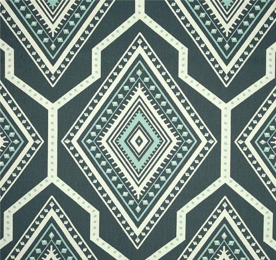 Designer Indie Grey Blue Fabric By The Yard Aztec Tribal Grey Blue Drapery Or Upholstery Fabric Cotton Home Decor Fabric Steel Blue Fabric