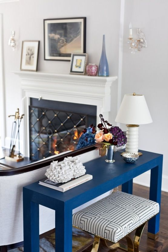 Living Room Detail Blue Console Living Contemporary Eclectic Transitional  By Marks U0026 Frantz