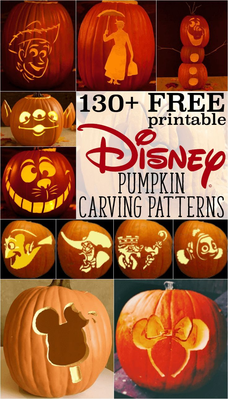 Disney pumpkin stencils: Over 130 printable pumpkin patterns for Halloween | Free pumpkin carving templates, ideas for all your DIY Disney favorites: Star Wars, Nightmare Before Christmas, Jack Skellington, Minnie Mouse, Snow White, Frozen, princesses, Mickey Mouse, Cinderella's carriage and more!