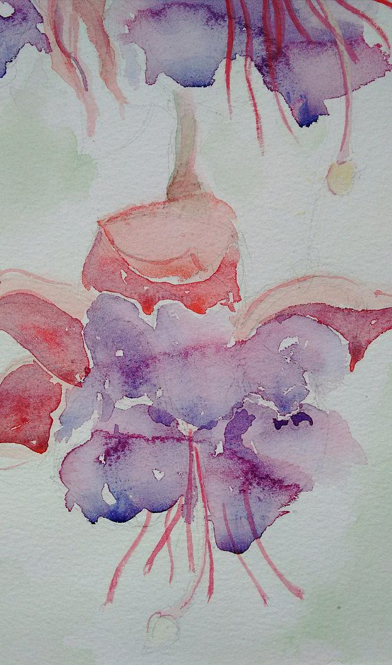 Fuchsia Original Flower Painting In Watercolour A One Off Watercolour Art Work Of Fuchsia Flowers From My Garden By Ediebrae Flower Art Painting Watercolor Art