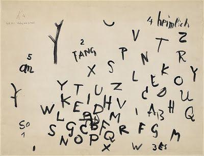 Paul Klee, Anfang eines Gedichts via gramatologia
