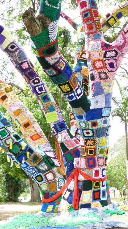 Granny Square Yarnbomb Tree in South Africa.