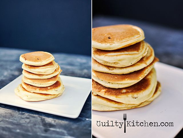 These Vanilla Protein Pancakes are sturdy yet light and fluffy. Perfect for making tiny sandwiches for your kids lunch. Gluten-free.