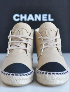 Chanel Leather & Canvas Espadrille Ankle Booties