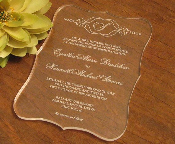 Clear Acrylic Wedding Invitation Wonder If We Can Do A Program Like This