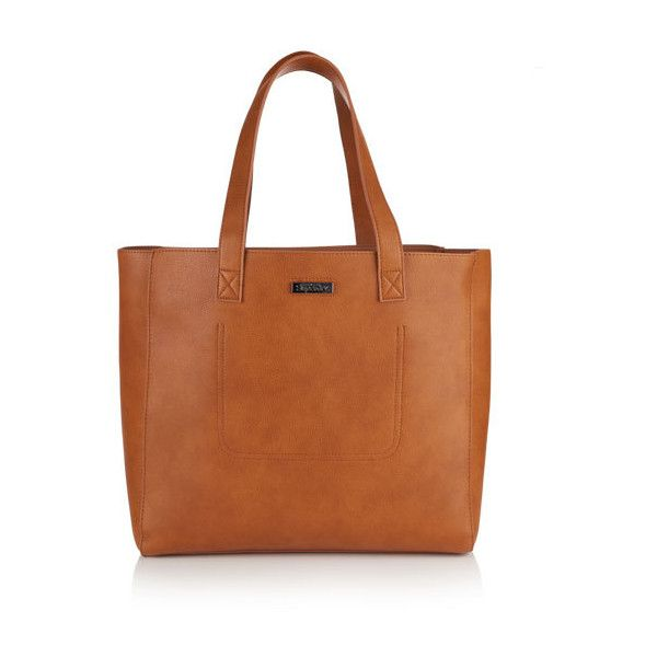 Superdry Amelia Tote Bag ($55) ❤ liked on Polyvore featuring bags, handbags, tote bags, brown, zippered tote bag, brown tote handbags, superdry, brown tote bags and handbags tote bags