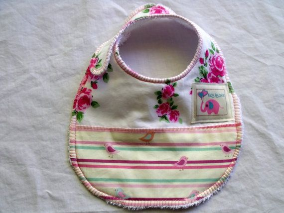 Baby Bib  girls pretty pink floral birds pastel by KidsAspire, $8.50
