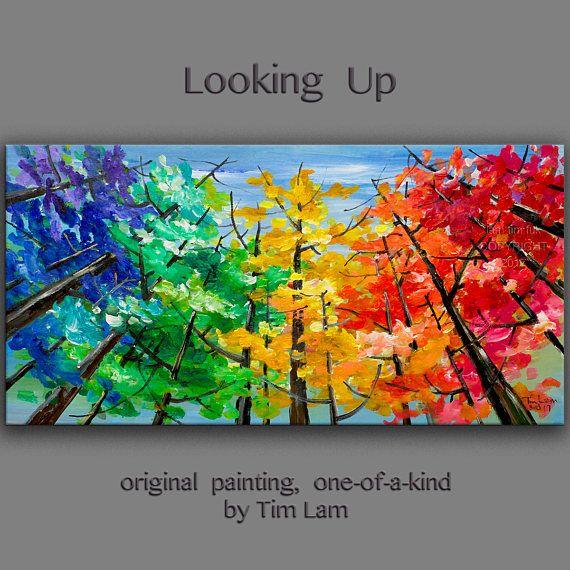 Looking Up pittura dell'albero cambio stagione Aspen grande