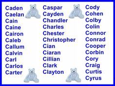 Boys Names That Start With C