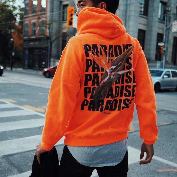 Paradise Hoodie - Safety Orange / White