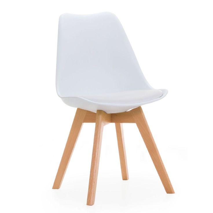 Silla de comedor muy confortable. Asiento inspirado en la Silla Tulip de Eero Saarinen. Recoge cómodamente el cuerpo. Incluye cojín tapizado en polipiel. Patas robustas de madera de haya. Soporta un peso máximo de 150 kg. Disponible en 8 colores diferentes. La Silla BEECH TULIPA ofrece un diseño muy atractivo, ideal para aportar un toque único a tu salón o comedor en casa. También puede convertirse en la silla perfecta para tu bar, restaurante o cafetería. Respal...