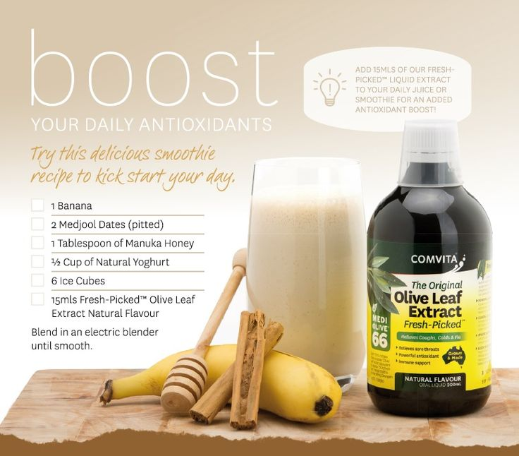 Try this delicious smoothie recipe to kick start your day! Contains our Comvita® Fresh-Picked™ Olive Leaf Extract Natural liquid for extra antioxidant boost!