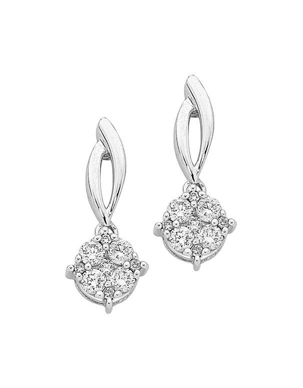 Diamond Earrings - Diamond Set White Gold Earrings - 756743