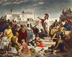 La democracia comenzó en la Antigua Grecia, específicamente en Atenas en el siglo V a. C. (el siglo de Pericles). Por ello se le denomina frecuentemente como democracia ateniense.