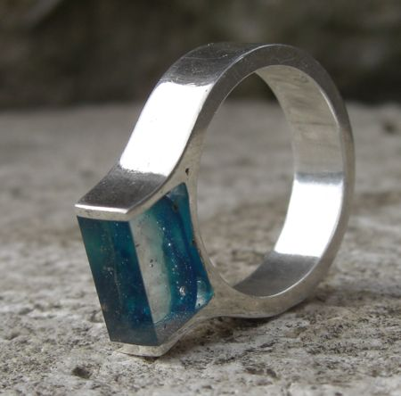 Silver clay ring with UV resin by Metal Clay Ltd.
